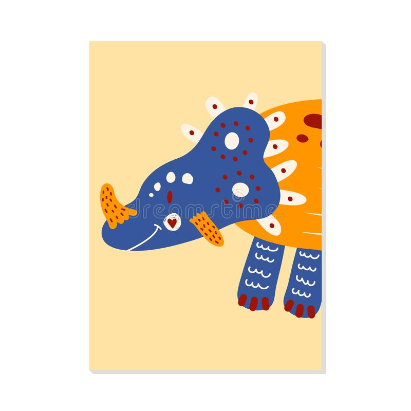 Nursery card with cute dinosaur triceratops. For kids prints, postcards, wall art. Vector illustration. nursery card with cute dinosaur triceratops. For kids vector illustration