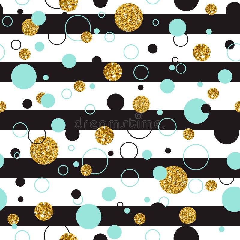 Vector Illustration O der modernen stilvollen nahtlosen allgemeinhinschablone mit goldenen geometrischen Funkeln-Punkten, Linie k lizenzfreie abbildung