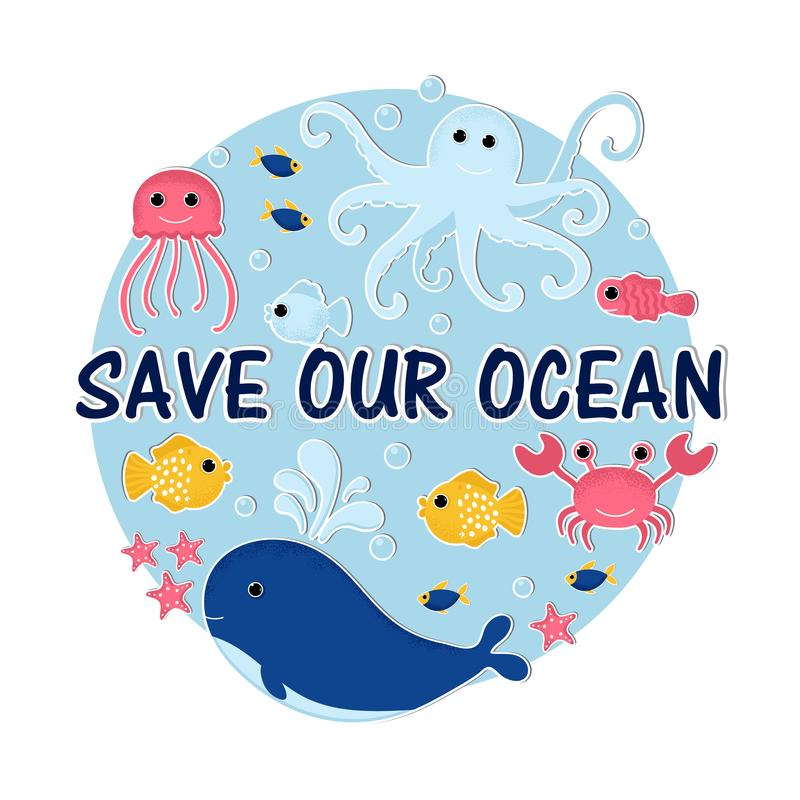 Ocean animal design background royalty free illustration