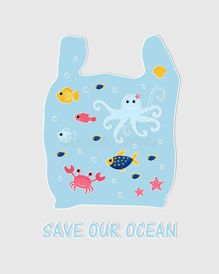 Ocean animal design background. vector illustration