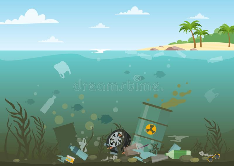 Vector illustration of ocean water full of dangerous waste at the bottom. Eco, water pollution concept. Garbage in the stock illustration