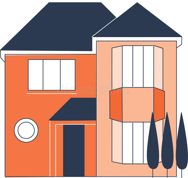Free Vector Illustration Of A 2-story Residential House. Stock Photos - 171829713