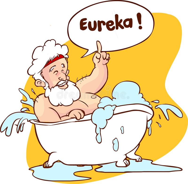 Free Vector Illustration Of A Archimedes In Bath. Thumbs Up Eureka. Ancient Greek Mathematician, Physicist Stock Photo - 170723680