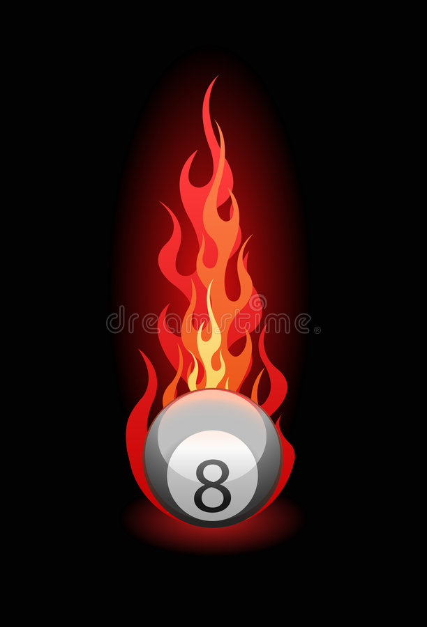 Free Vector Illustration Of A Billiard Ball In Fire Royalty Free Stock Photography - 5988967