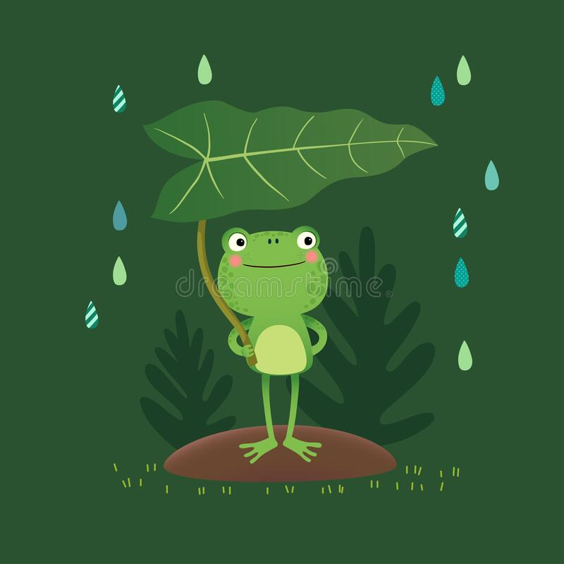 Free Vector Illustration Of A Cute Frog Standing And Holding A Leaf On A Rainy Day Royalty Free Stock Images - 181256399