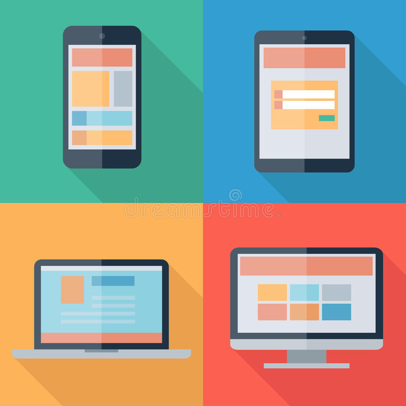 Free Vector Illustration Of Adaptive Web Design On Electronic Devices Phone, Tablet, Notebook, Monitor Royalty Free Stock Photo - 40741315