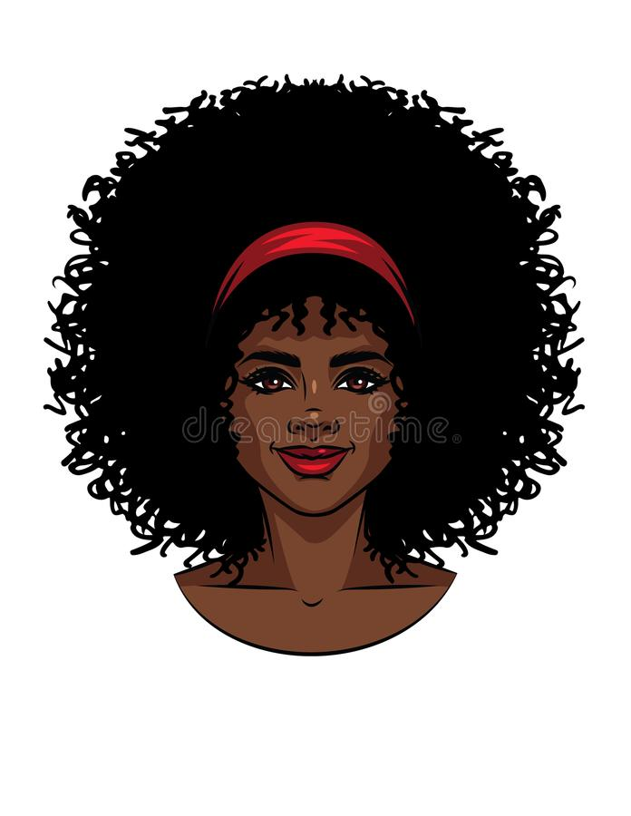 Free Vector Illustration Of African American Type Woman`s Face With Curly Hair. Royalty Free Stock Photo - 115311615