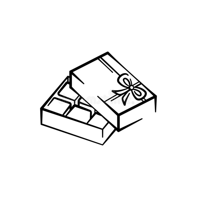 Free Vector Illustration Of An Open Box Of Chocolates Hand-drawn. Vector Icon Black Line Isolated On White Background For Design Stock Photos - 174446953