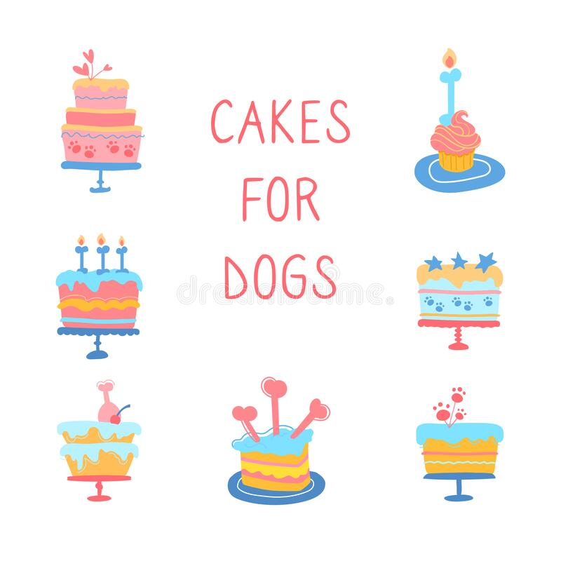 Free Vector Illustration Of Dog Cakes. Cupcakes For The Party Your Dogs Birthday. Snacks For Animals, Candles-bone, Ham Royalty Free Stock Photography - 195920507