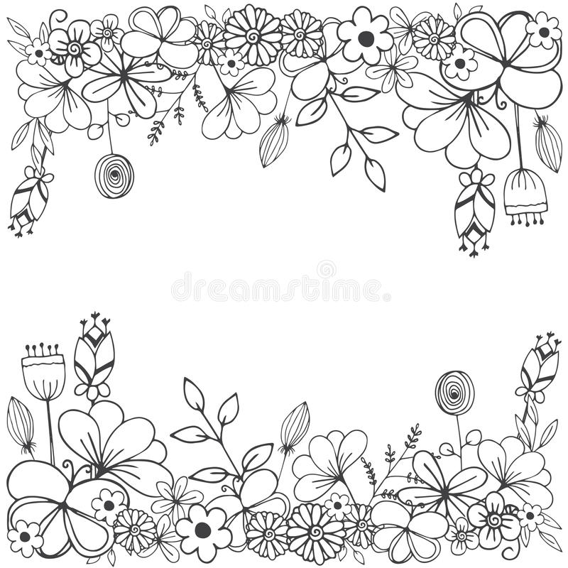 Free Vector Illustration Of Flower Doodle Sketch In Black Line On White Isolated Royalty Free Stock Images - 98985839
