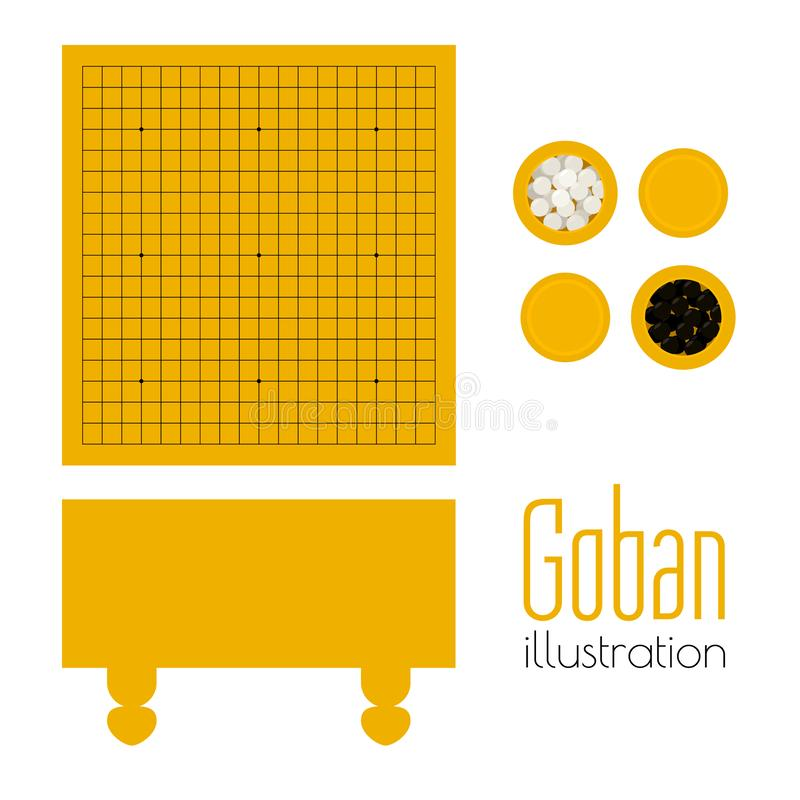 Free Vector Illustration Of Goban And Bowls With Stones Stock Photos - 127408813