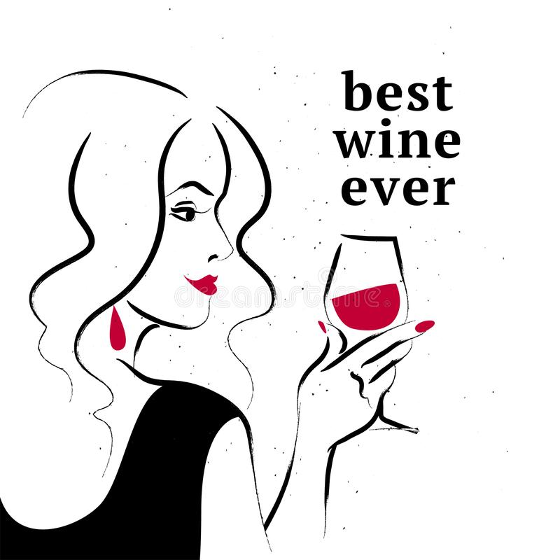 Free Vector Illustration Of Hand Drawn Young Beautiful Long Hair Lady In Black Dress Hold Wine Glass On White Background. Royalty Free Stock Images - 159432019