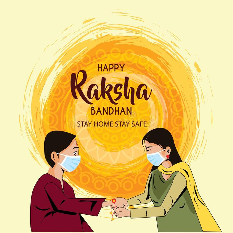 Free Vector Illustration Of Indian Festival Of Brother And Sister Love, Happy Raksha Bandhan Celebration.corona Virus Covid-19 Concept Royalty Free Stock Photos - 190860878
