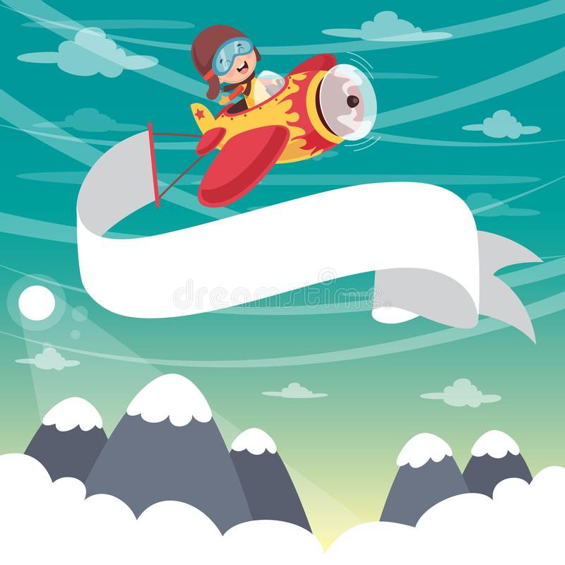 Free Vector Illustration Of Kid Flying Plane With Banner Royalty Free Stock Photos - 113309088