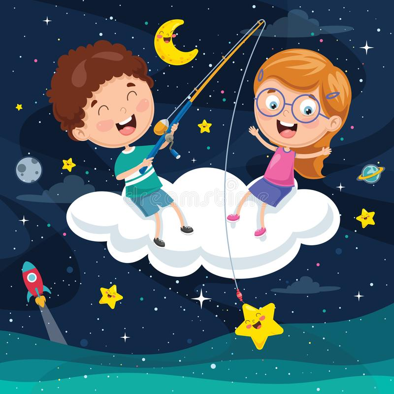 Free Vector Illustration Of Kids Sitting On Cloud Royalty Free Stock Photo - 113470705