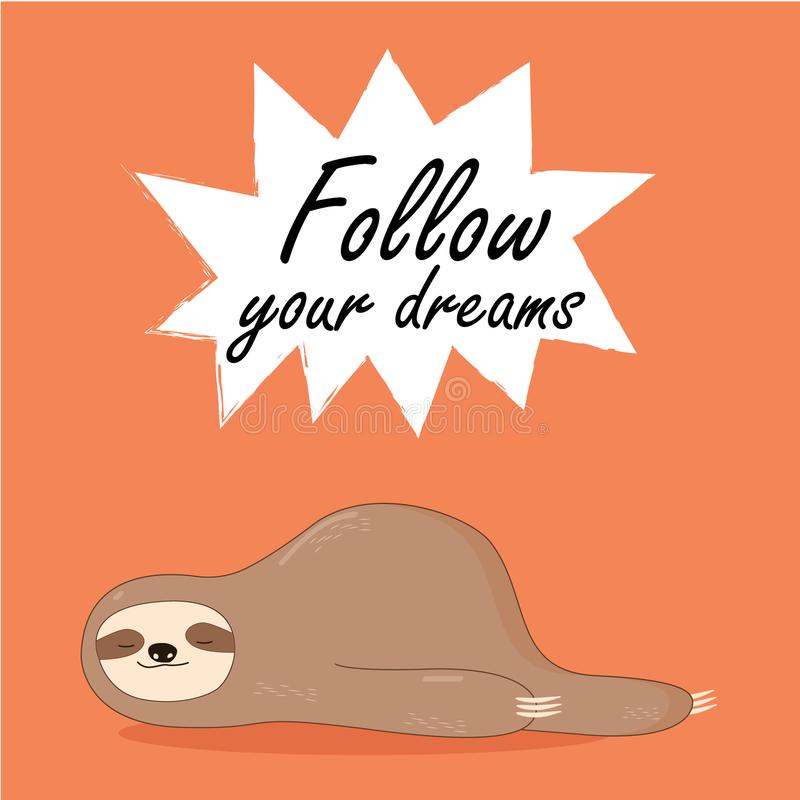 Free Vector Illustration Of Lazy Sloth With The Speech Bubble And The Words Stock Photography - 110361712