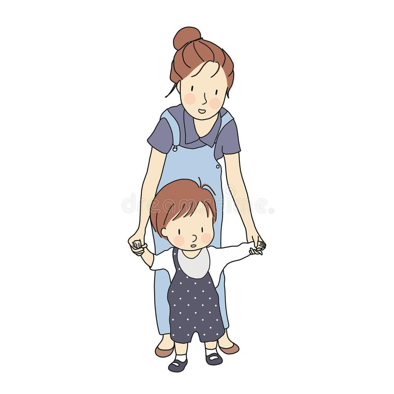 Free Vector Illustration Of Little Toddler First Steps. Mother Holding Baby Hand And Helping Him Learn To Walk. Royalty Free Stock Images - 121330119
