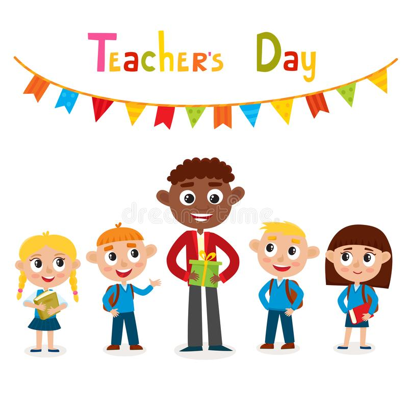 Free Vector Illustration Of Man Teacher And Pupils Isolated On White. Royalty Free Stock Photos - 134377898
