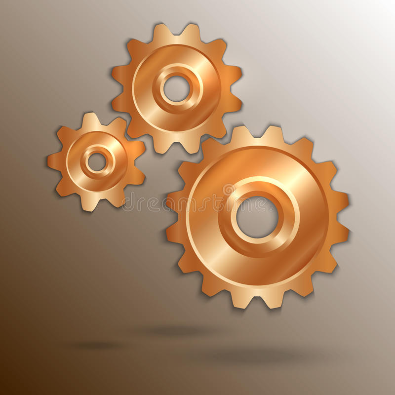 Free Vector Illustration Of Metallic Copper Cogwheels Stock Image - 43631771