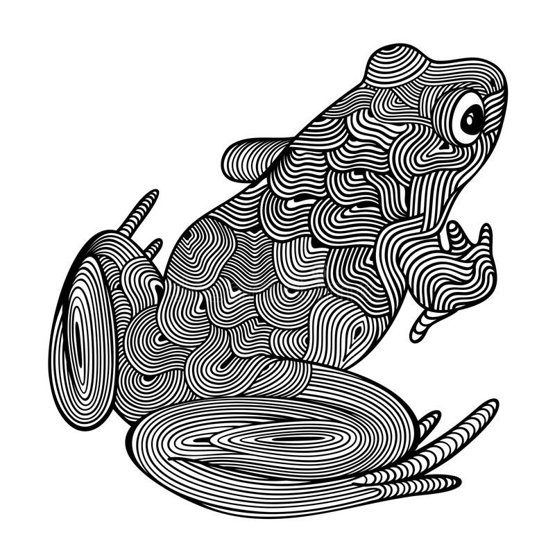 Free Vector Illustration Of Outline, Decorative Zentangle Sitting Frog, In Black Color, Isolated, On White Background. Royalty Free Stock Image - 161371236