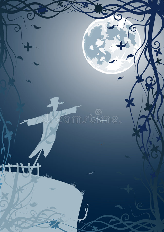 Free Vector Illustration Of Scarecrow With Moon Royalty Free Stock Image - 5807866