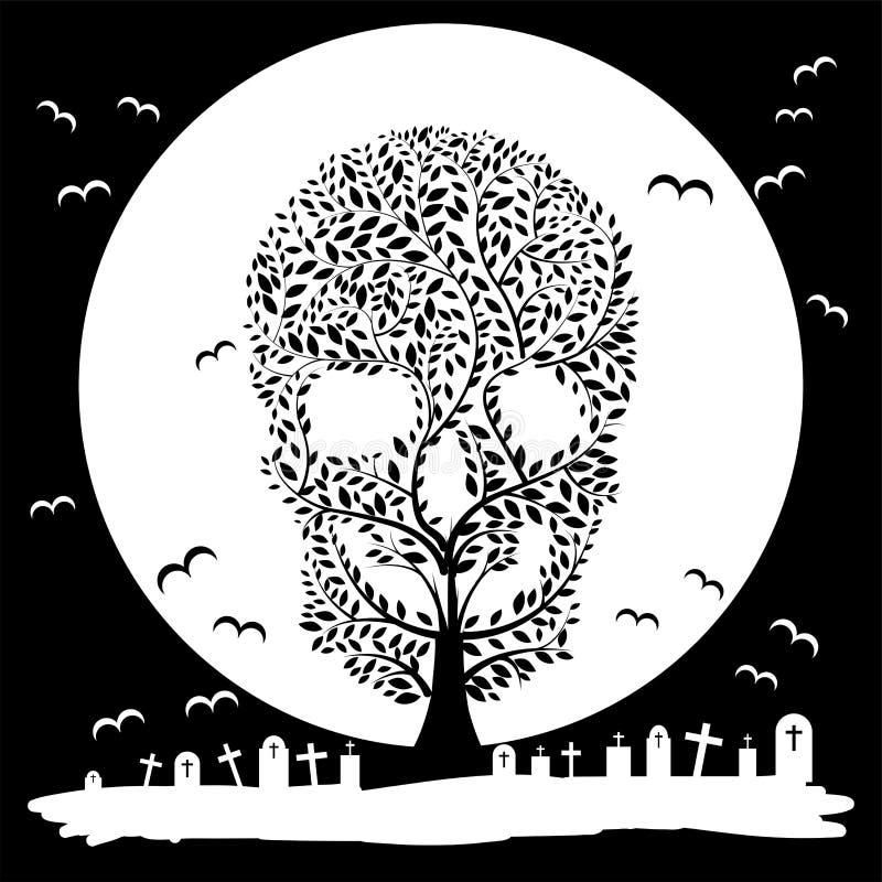 Free Vector Illustration Of Skull Tree Moon Graves Stock Photo - 44186360