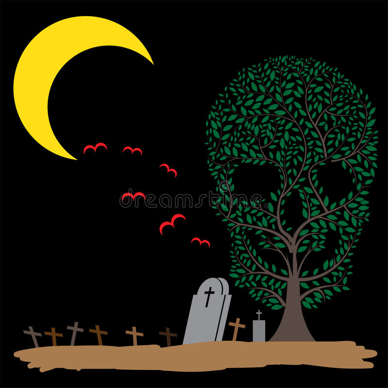 Free Vector Illustration Of Skull Tree Moon Graves Royalty Free Stock Images - 44186639