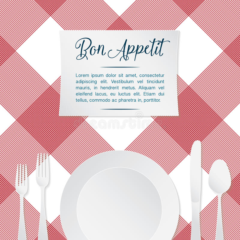 Free Vector Illustration Of Table Setting With Red And White Tablecloth Stock Photos - 59205363