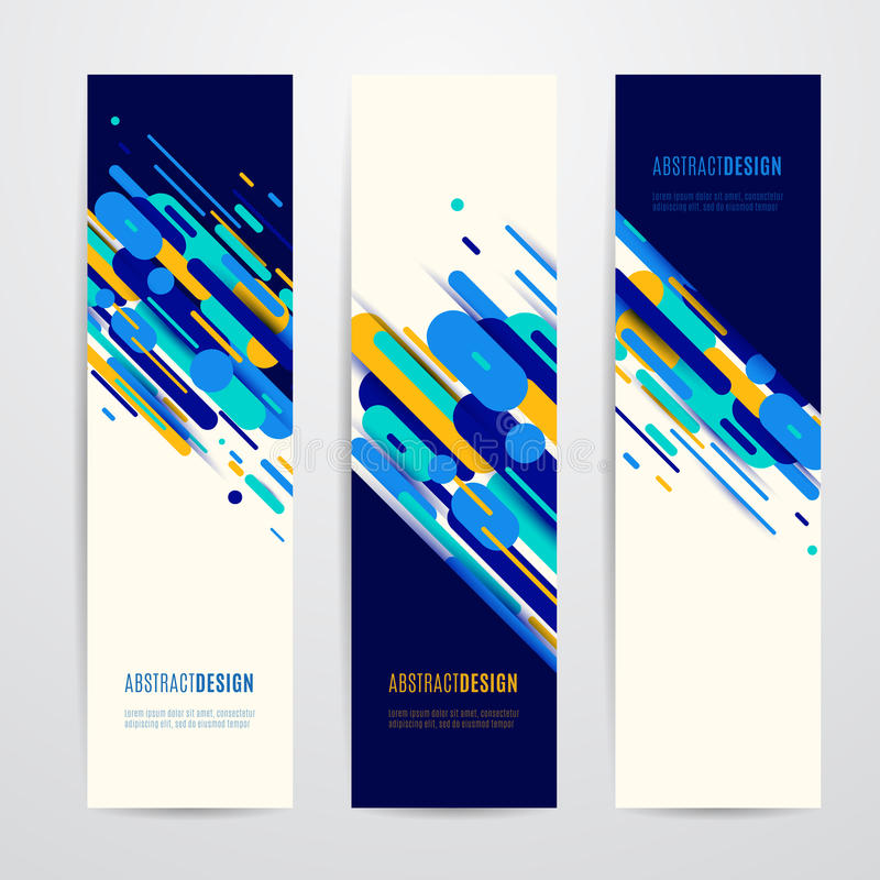 Free Vector Illustration Of Vertical Geometry Round, Diagonal And Line Banner Set Stock Photos - 94406913