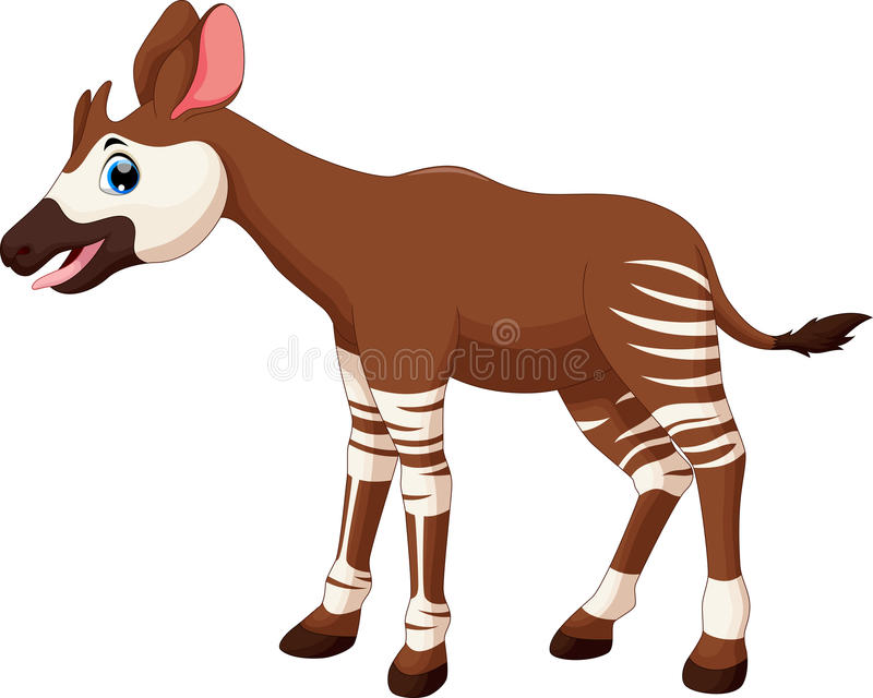 Vector illustration of okapi cartoon. Isolated on white background royalty free illustration