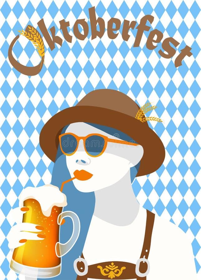 Oktoberfest blue diamond symbols poster banner with a hip woman holding a  light beer mug royalty free illustration