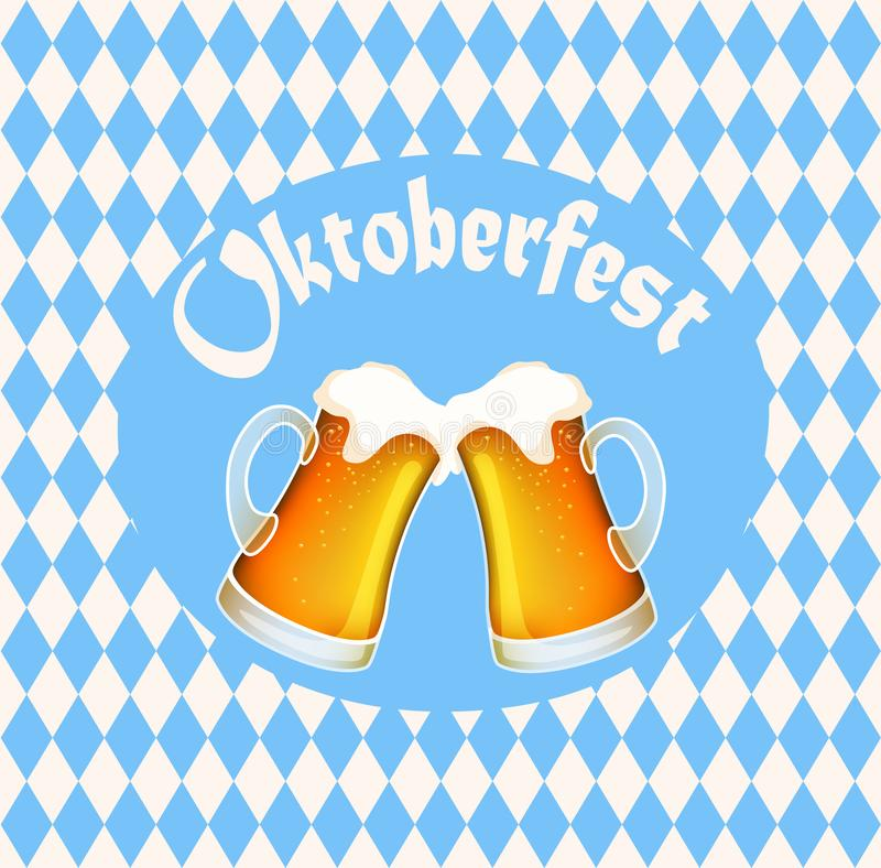 Vector illustration of oktoberfest poster banner with two full beer mugs, blue diamond symbols and text stock illustration