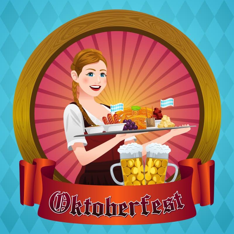 Oktoberfest Poster With Bavarian Woman. A vector illustration of Oktoberfest Poster With Bavarian Woman vector illustration