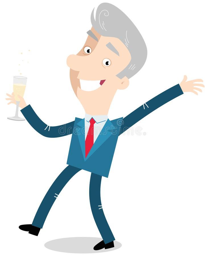 Vector illustration of an old cartoon businessman celebrating and drinking champagne. Isolated on white background royalty free illustration