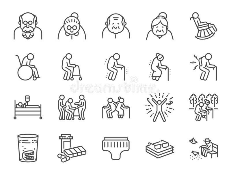 Old man line icon set. Included icons as older people, aging, healthy, senior, life and more. stock illustration