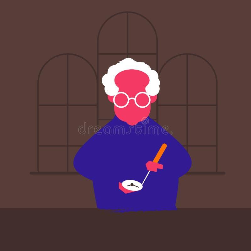 Vector illustration of an old man stock illustration
