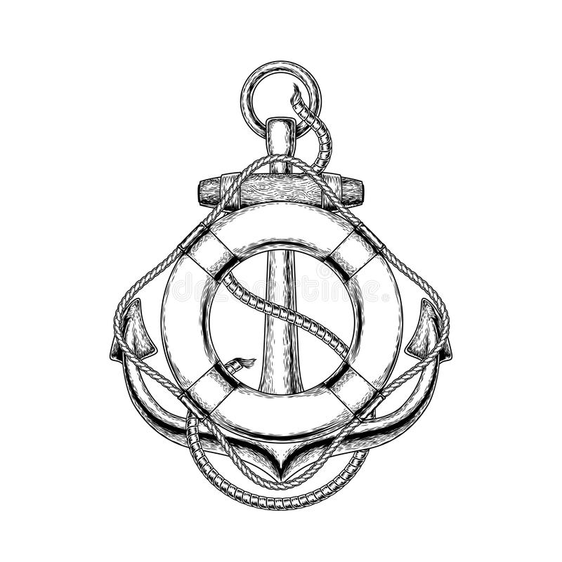 Vector illustration of an old nautical anchor and life buoy vector illustration
