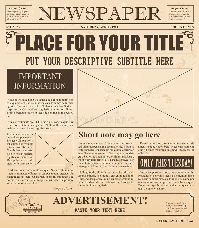 Vector illustration of old newspaper retro design. Vintage background with place for text and images. royalty free illustration
