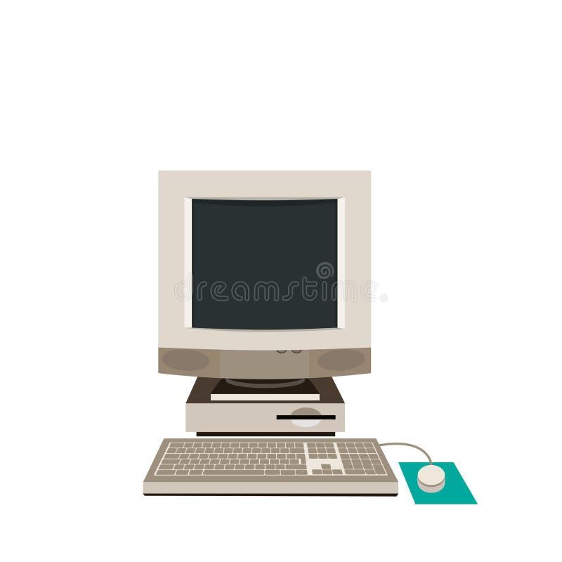 Desktop PC, Computer Equipment, Old. Vector illustration. royalty free illustration