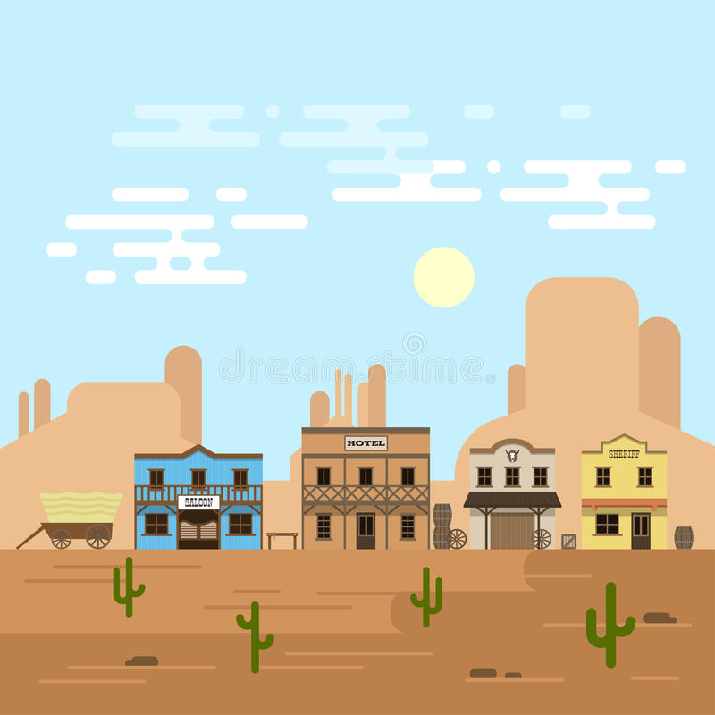 Vector illustration of an old western town in a daytime. Saloon, hotel and other detailed buildings and objects. Wild West desert landscape background stock illustration