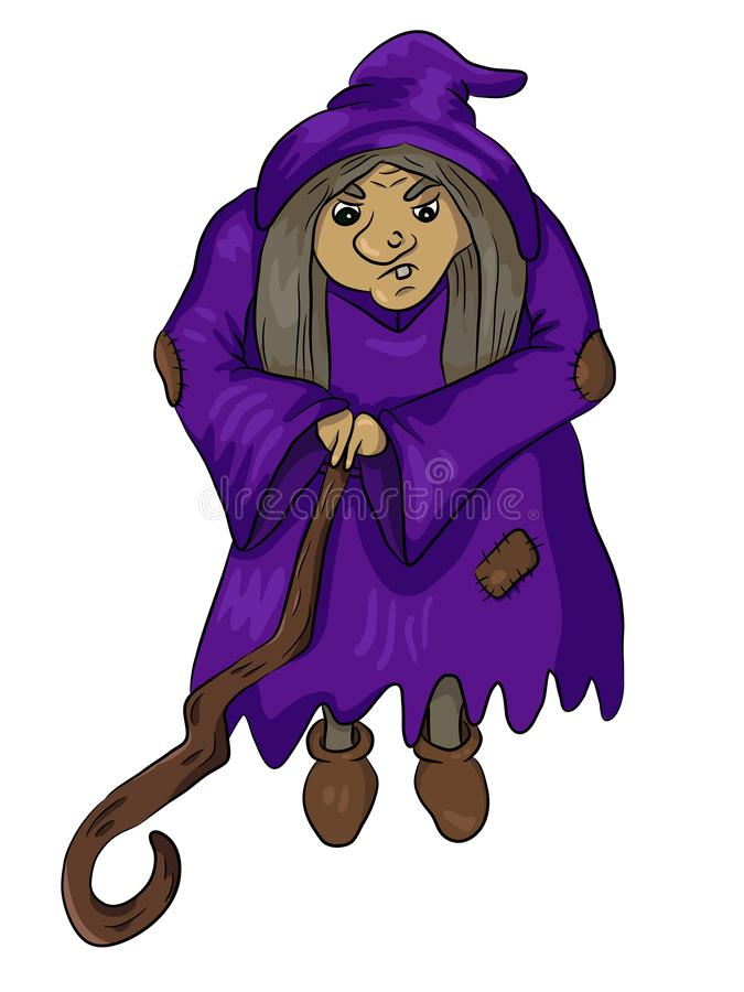 Vector Illustration of Old Witch with Wooden Stick stock illustration