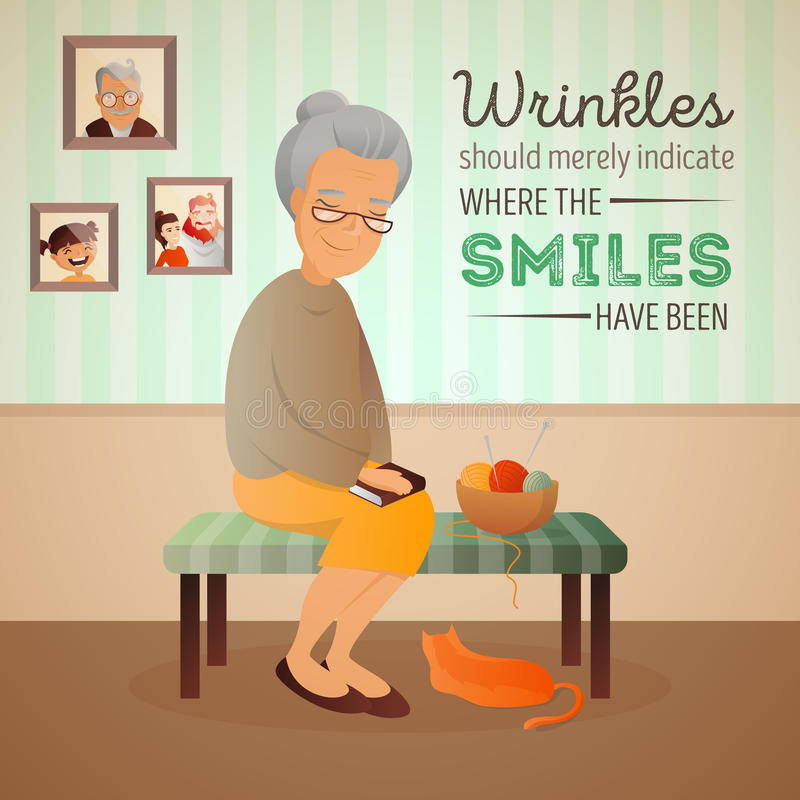 Vector illustration of an old woman sitting in the room on the sofa with cat and knitting tools. royalty free illustration