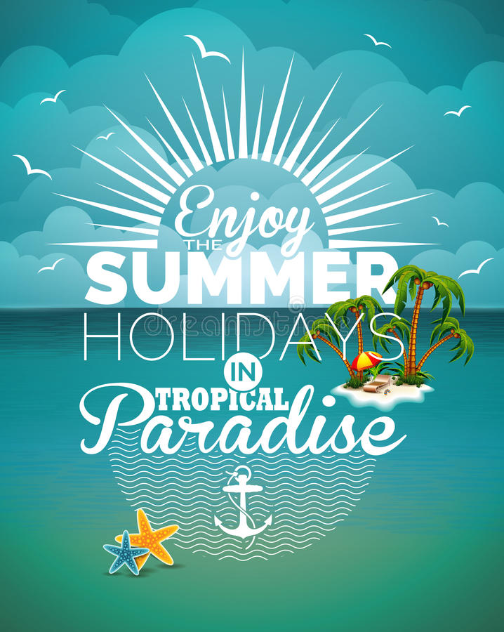 Free Vector Illustration On A Summer Holiday Theme On Seascape Background Royalty Free Stock Photos - 54102568
