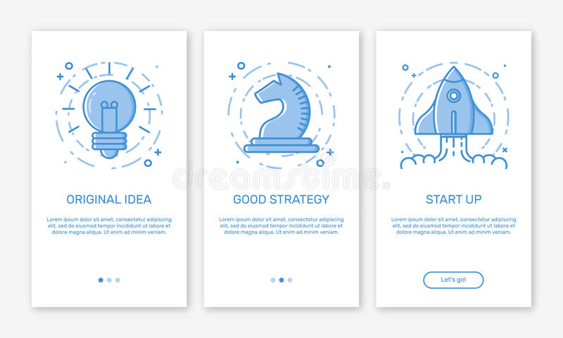 Vector Illustration of onboarding app screens concept business start up application for mobile apps in line style. Modern blue interface UX, UI GUI screen royalty free illustration