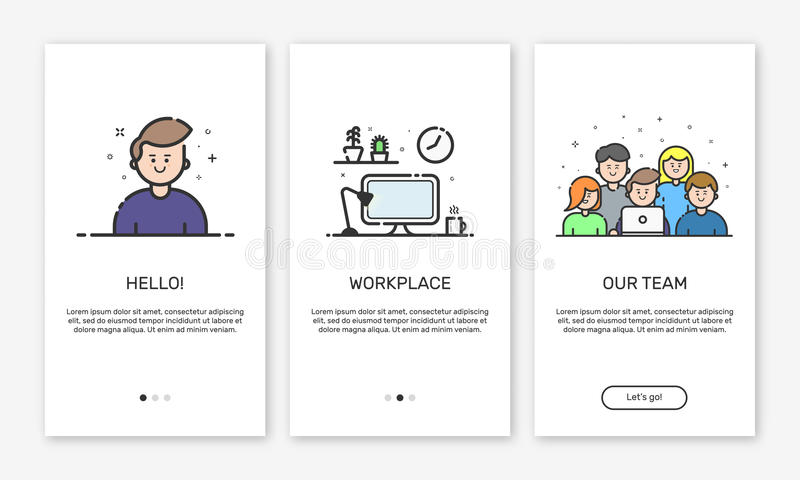 Vector Illustration of onboarding app screens and web concept design team for mobile apps in flat line style. Vector Illustration of onboarding app screens and stock illustration