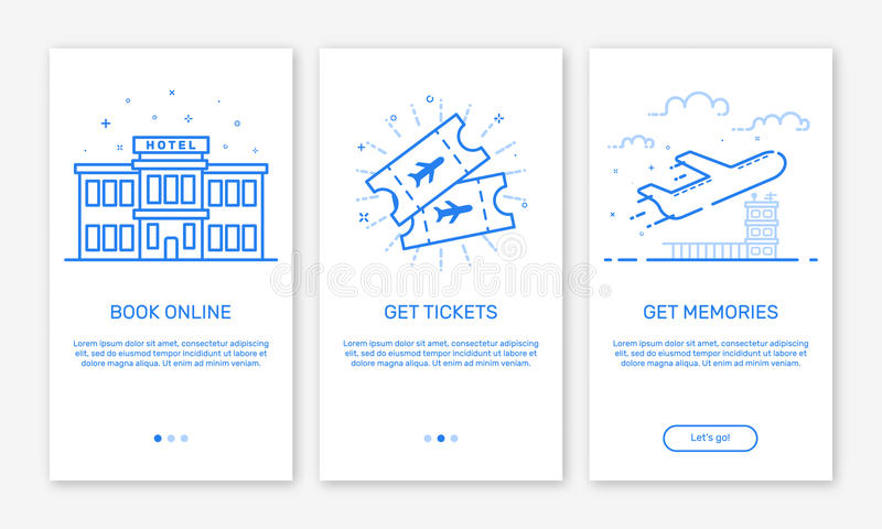 Vector Illustration of onboarding app screens and web concept design team for mobile apps in flat line style. vector illustration