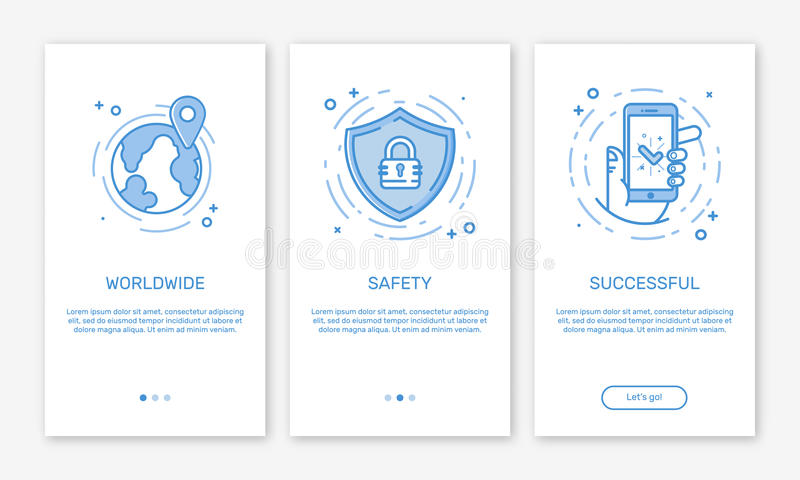 Vector Illustration of onboarding app screens and web concept online payments application for mobile apps in line style. royalty free illustration