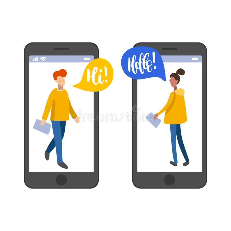 Vector illustration for online dating app users. Flat infographics of acquaintance in social network, chatting people. Vector illustration for online dating app royalty free illustration