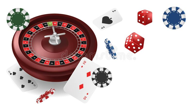 Vector illustration Online Poker casino banner with roullete, chips, playing cards and dice isolated white background. Marketing vector illustration