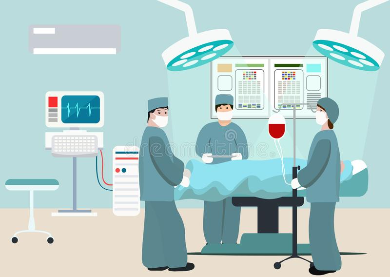 Vector Illustration of operating room. Surgeon team at work in operating room. Medical surgery flat composition with. Doctors and patient. Surgeons in operation stock illustration